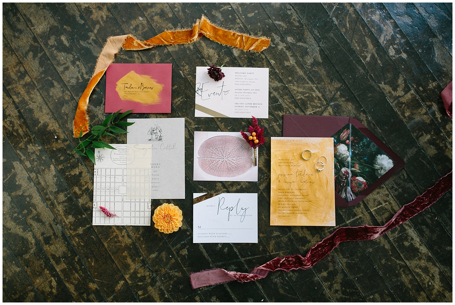 Orange and maroon wedding invitation suite